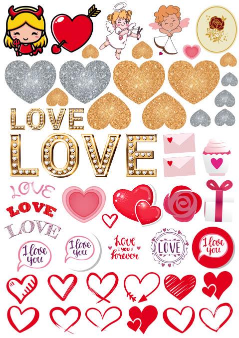 sticker cuori san valentino